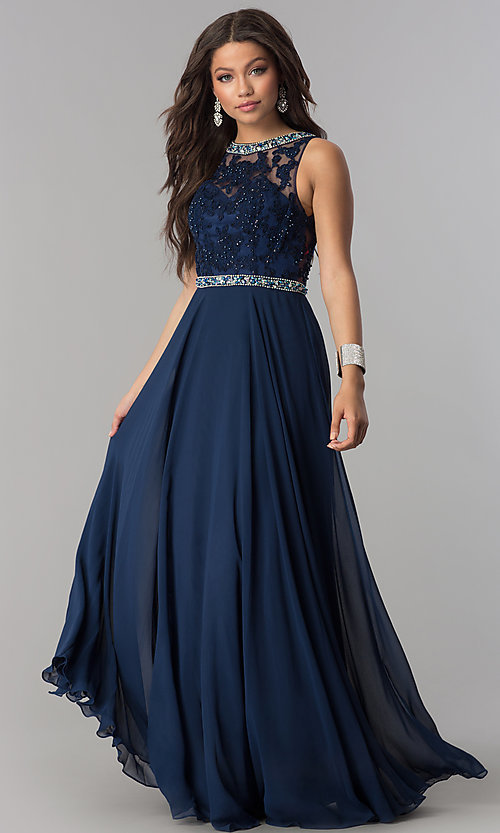 Image of long backless backless lace-bodice chiffon prom dress. Style: DQ-9281 Detail Image 3