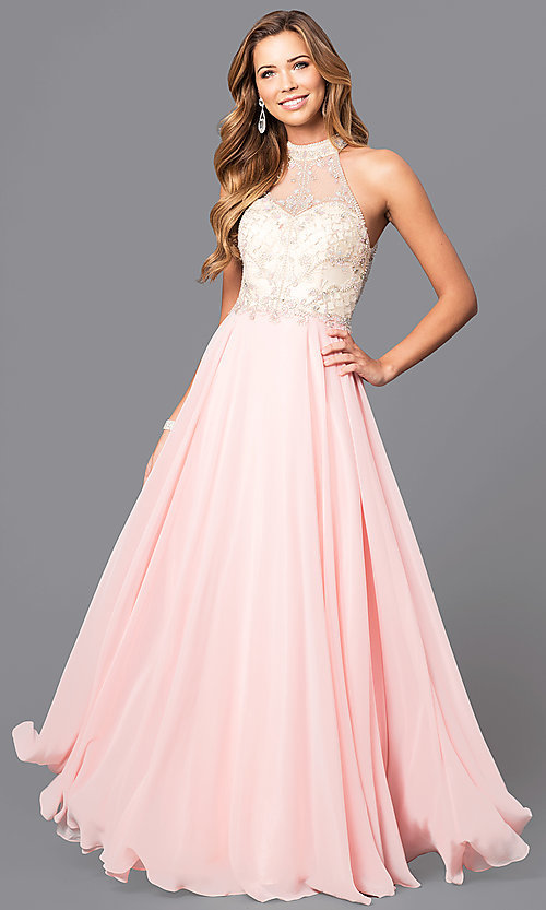 Image of chiffon high-neck embellished formal prom dress. Style: DQ-9293 Front Image