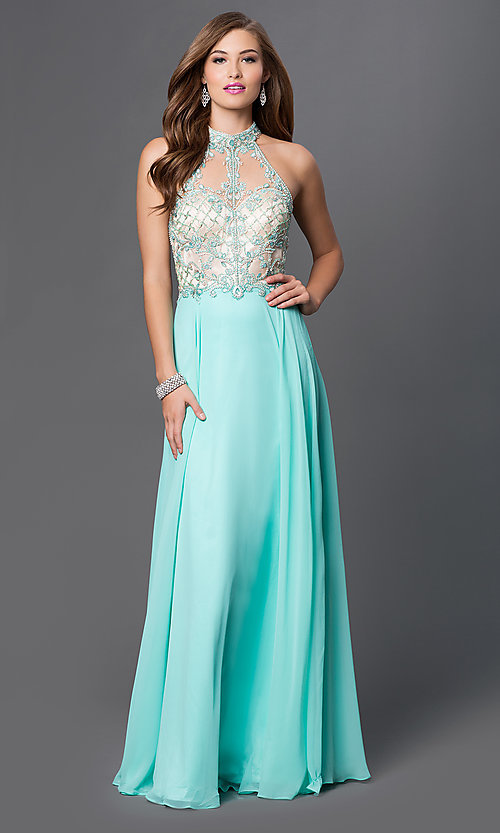Image of chiffon high-neck embellished formal prom dress. Style: DQ-9293 Detail Image 2