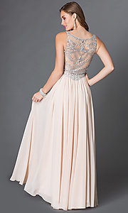 Image of long sleeveless jeweled-bodice chiffon prom dress Style: DQ-9282 Back Image