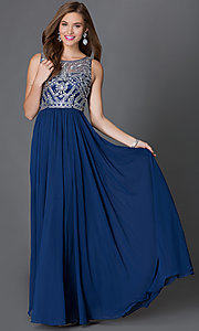 Image of long sleeveless jeweled-bodice chiffon prom dress Style: DQ-9282 Front Image