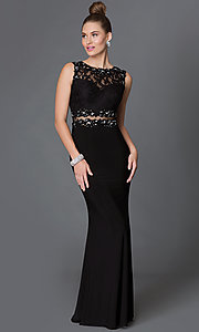 Image of mock two-piece floor-length lace-bodice formal dress Style: DQ-9321 Front Image