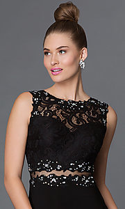 Image of mock two-piece floor-length lace-bodice formal dress Style: DQ-9321 Detail Image 1