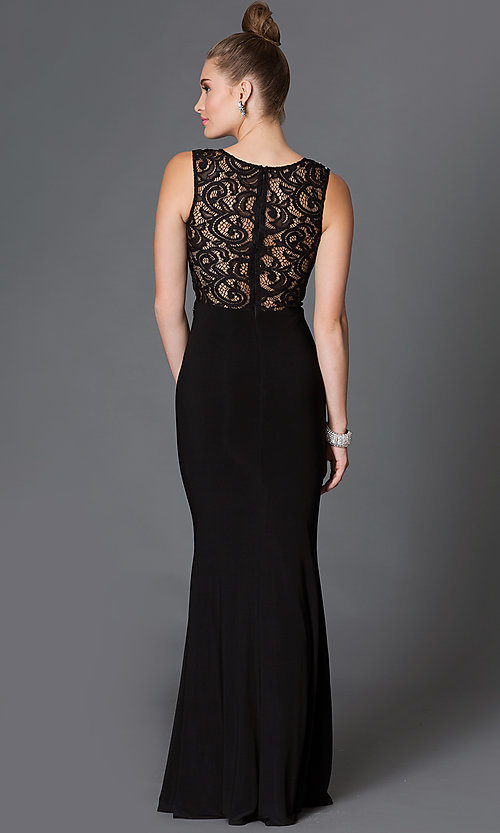 Image of mock two-piece floor-length lace-bodice formal dress Style: DQ-9321 Back Image