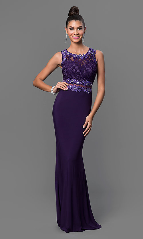Image of mock two-piece floor-length lace-bodice formal dress Style: DQ-9321 Detail Image 3