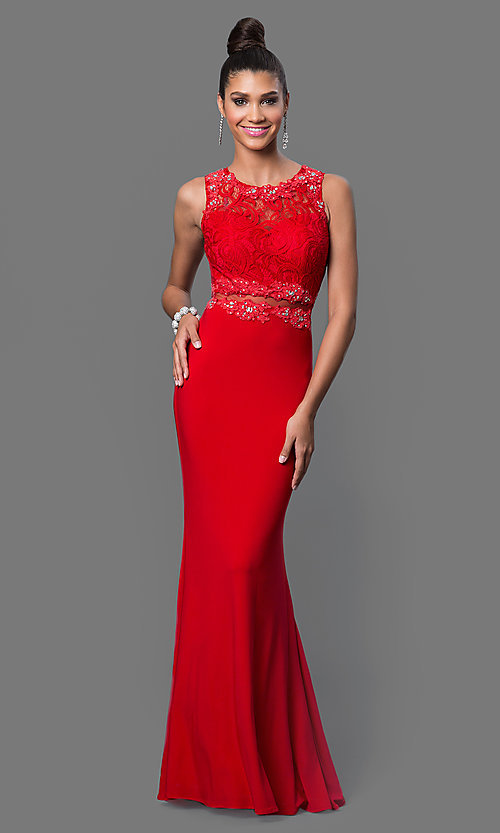 Image of mock two-piece floor-length lace-bodice formal dress Style: DQ-9321 Detail Image 2