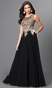 Image of long prom dress with sleeveless lace applique sheer bodice Style: DQ-9191 Front Image