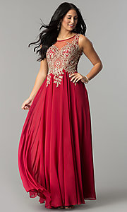Image of long prom dress with sleeveless lace applique sheer bodice Style: DQ-9191 Detail Image 3