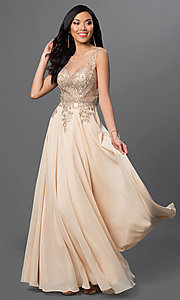 Image of long prom dress with sleeveless lace applique sheer bodice Style: DQ-9191 Detail Image 1