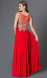 Image of long prom dress with sleeveless lace applique sheer bodice Style: DQ-9191 Back Image