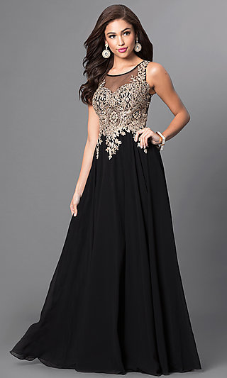 Sheer Bodice Long Prom Dress with Lace Applique