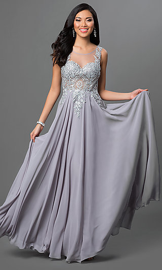 Lace Applique Sheer Bodice Long Prom Dress