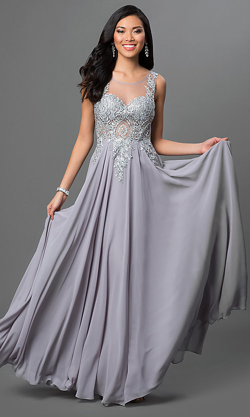 Image of long prom dress with sleeveless lace applique sheer bodice Style: DQ-9191 Detail Image 2