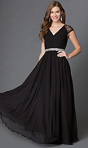 Image of long cap-sleeve V-neck dress with pleated bodice Style: DQ-9182 Front Image