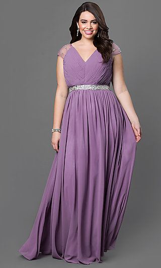 Plus-Size Long Formal Prom Dress with Cap Sleeves