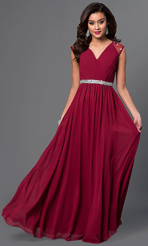 Image of long cap-sleeve V-neck dress with pleated bodice Style: DQ-9182 Detail Image 2