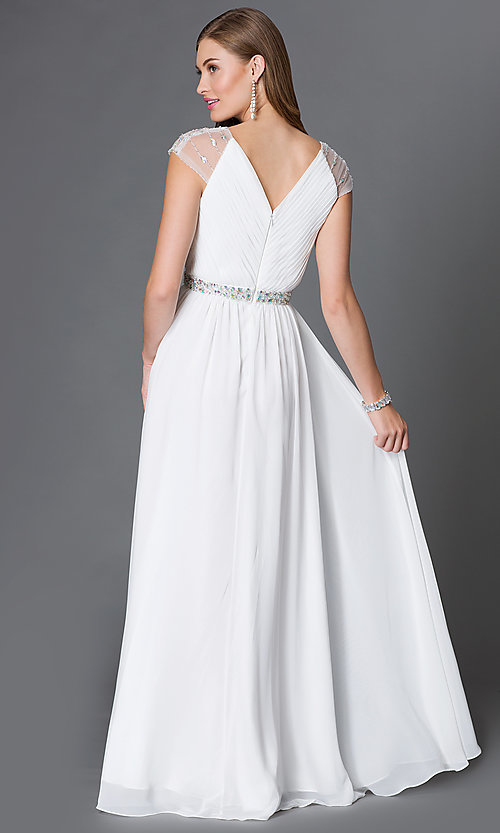 Image of long cap-sleeve V-neck dress with pleated bodice Style: DQ-9182 Back Image