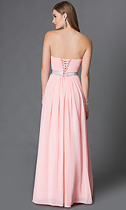 Image of strapless corset-back long sweetheart prom dress Style: DQ-9137 Back Image