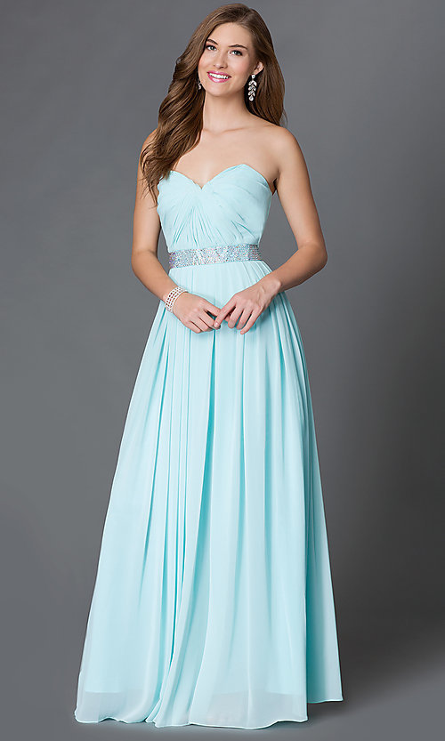 Image of strapless corset-back long sweetheart prom dress Style: DQ-9137 Detail Image 2