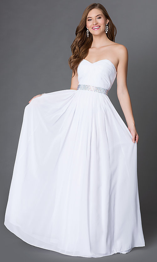 Image of strapless corset-back long sweetheart prom dress Style: DQ-9137 Detail Image 1