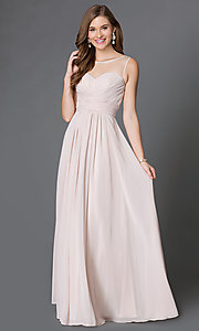 Image of floor-length corset-style illusion-sweetheart gown Style: DQ-9202 Detail Image 2