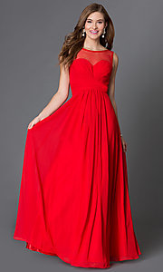 Image of floor-length corset-style illusion-sweetheart gown Style: DQ-9202 Detail Image 3