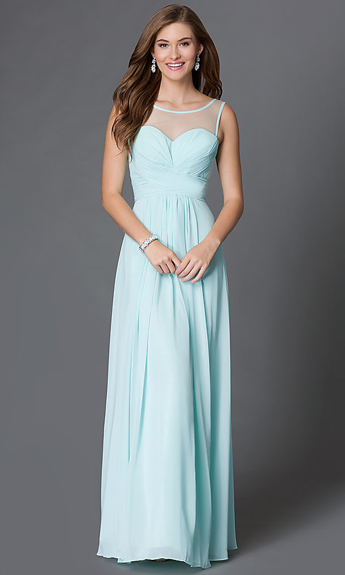 Image of floor-length corset-style illusion-sweetheart gown Style: DQ-9202 Front Image