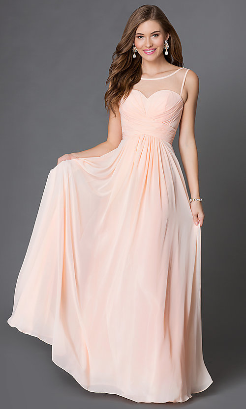 Image of floor-length corset-style illusion-sweetheart gown Style: DQ-9202 Detail Image 1
