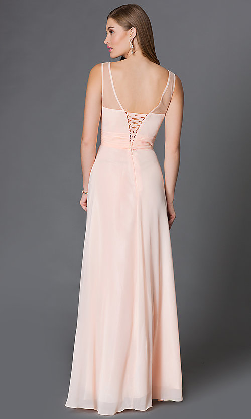 Image of floor-length corset-style illusion-sweetheart gown Style: DQ-9202 Back Image
