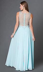 Image of mock two piece floor length beaded illusion dress Style: DQ-9150 Back Image