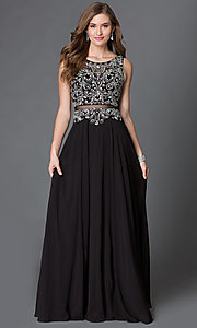 Image of mock two piece floor length beaded illusion dress Style: DQ-9150 Detail Image 1