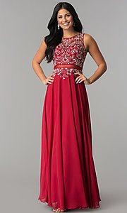 Image of mock two piece floor length beaded illusion dress Style: DQ-9150 Detail Image 3