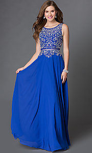 Image of mock two piece floor length beaded illusion dress Style: DQ-9150 Front Image