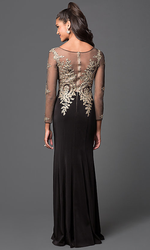 Image of long-sleeved floor-length lace-applique prom dress Style: DQ-8999 Back Image