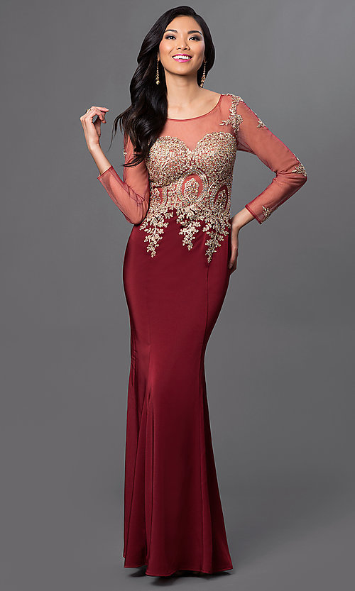 Image of long-sleeved floor-length lace-applique prom dress Style: DQ-8999 Front Image
