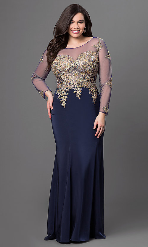 Image of long-sleeved floor-length lace-applique prom dress Style: DQ-8999 Detail Image 1