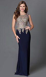 Image of jeweled lace applique sheer illusion sleeveless long evening dress Style: DQ-9173 Detail Image 3