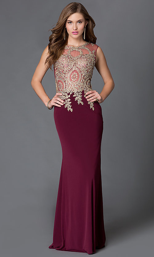 Image of jeweled lace applique sheer illusion sleeveless long evening dress Style: DQ-9173 Front Image