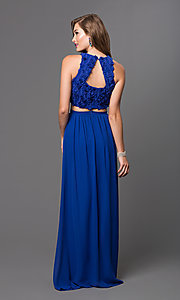 Image of floor-length two-piece floral-applique evening gown Style: TW-4168 Back Image