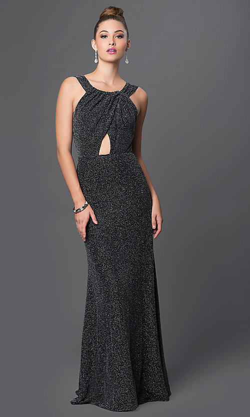 Image of floor-length metallic-spandex formal gown. Style: TW-4202 Front Image