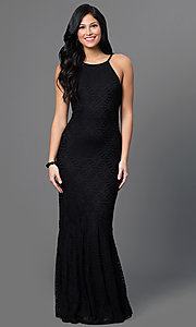 Image of open-back lace long mermaid gown Style: CQ-4570DK Front Image