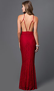 Image of open-back lace long mermaid gown Style: CQ-4570DK Back Image