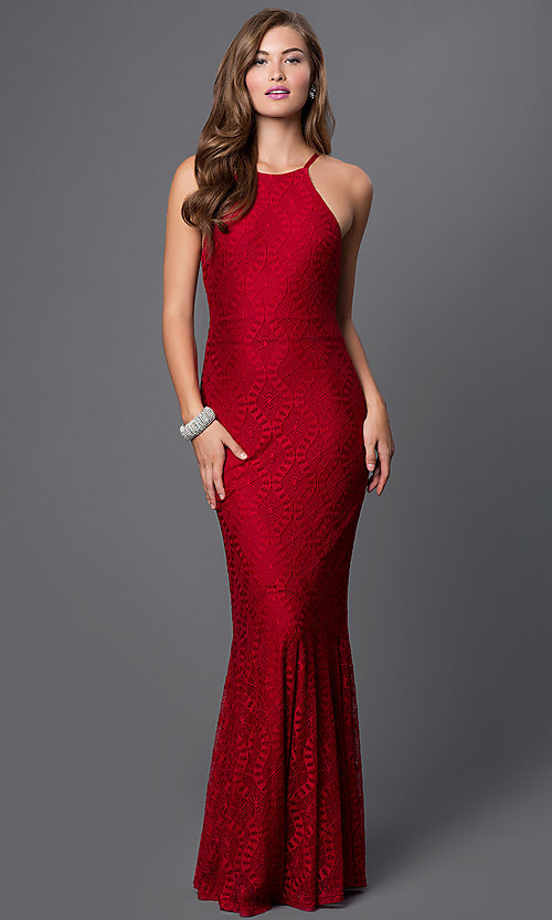 Image of open-back lace long mermaid gown Style: CQ-4570DK Detail Image 1