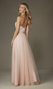 Image of embroidered-bodice long sweetheart gown Style: ML-132 Back Image