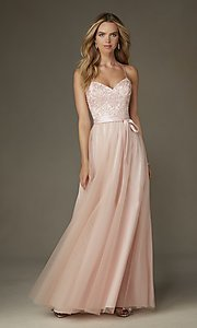 Image of embroidered-bodice long sweetheart gown Style: ML-132 Front Image