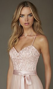 Image of embroidered-bodice long sweetheart gown Style: ML-132 Detail Image 1
