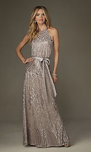 Image of long formal taupe party dress with silver sequins. Style: ML-20475 Front Image