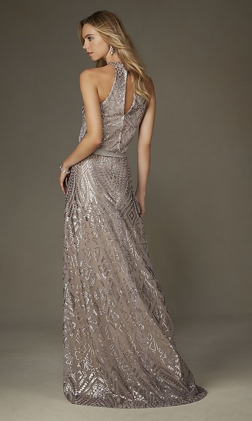 Image of long formal taupe party dress with silver sequins. Style: ML-20475 Back Image