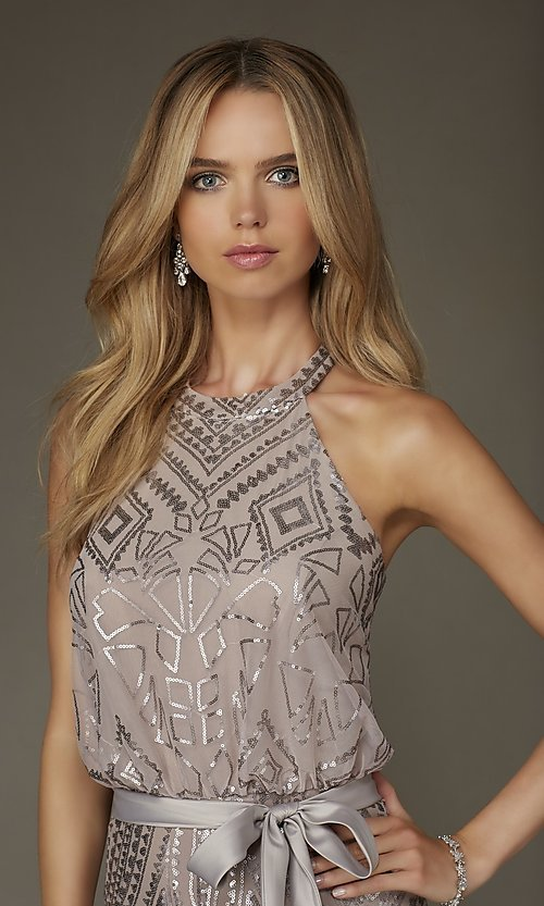 Image of long formal taupe party dress with silver sequins. Style: ML-20475 Detail Image 1