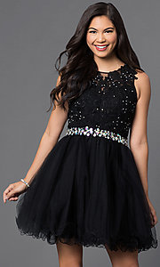 Image of babydoll short homecoming dress with beaded lace. Style: DQ-9159-v Front Image